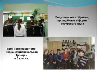 Родительское собрание, проведённое в форме ресурсного круга Урок истоков по т