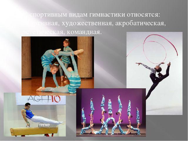 К спортивным видам гимнастики относятся:спортивная,художественная,акробати...