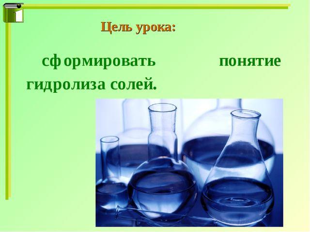 Цель урока: сформировать понятие гидролиза солей.