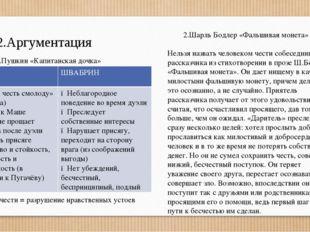 2.Аргументация 1.А.С.Пушкин «Капитанская дочка» Потеря чести = разрушение нра