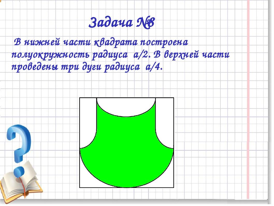 Задача №8 В нижней части квадрата построена полуокружность радиуса а/2. В вер...