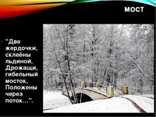 """мост """"Две жердочки, склеёны льдиной, Дрожащи, гибельный мосток, Положены чере"""