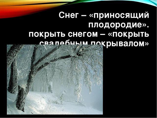 Снег – «приносящий плодородие». покрыть снегом – «покрыть свадебным покрывалом»