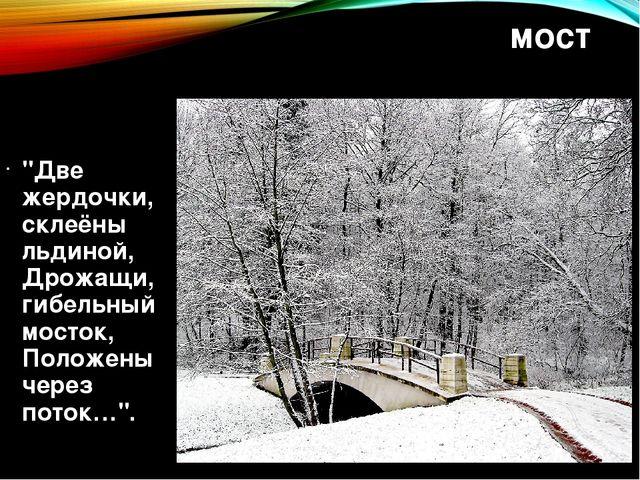 """мост """"Две жердочки, склеёны льдиной, Дрожащи, гибельный мосток, Положены чере..."""