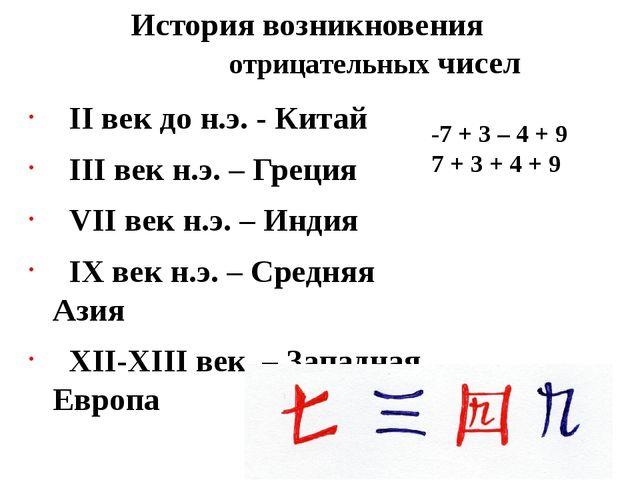 История возникновения отрицательных чисел II век до н.э. - Китай III век н.э....
