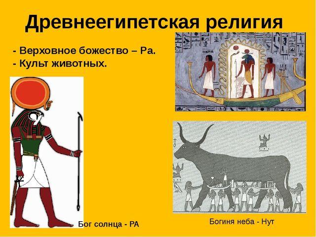 Древнеегипетская религия - Верховное божество – Ра. - Культ животных. Богиня...