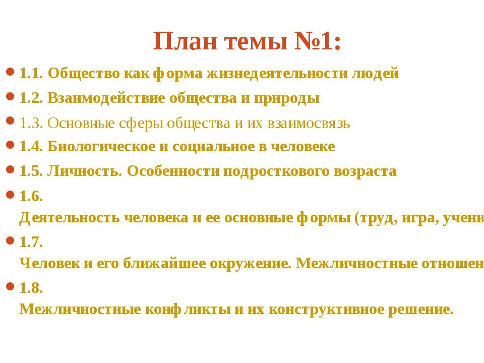 План темы №1: 1.1. Общество как форма жизнедеятельности людей 1.2. Взаимодей...