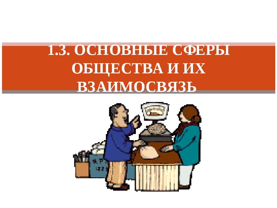 1.3. ОСНОВНЫЕ СФЕРЫ ОБЩЕСТВА И ИХ ВЗАИМОСВЯЗЬ