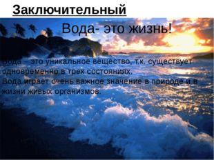 Заключительный вывод: Вода- это жизнь! Вода – это уникальное вещество, т.к. с