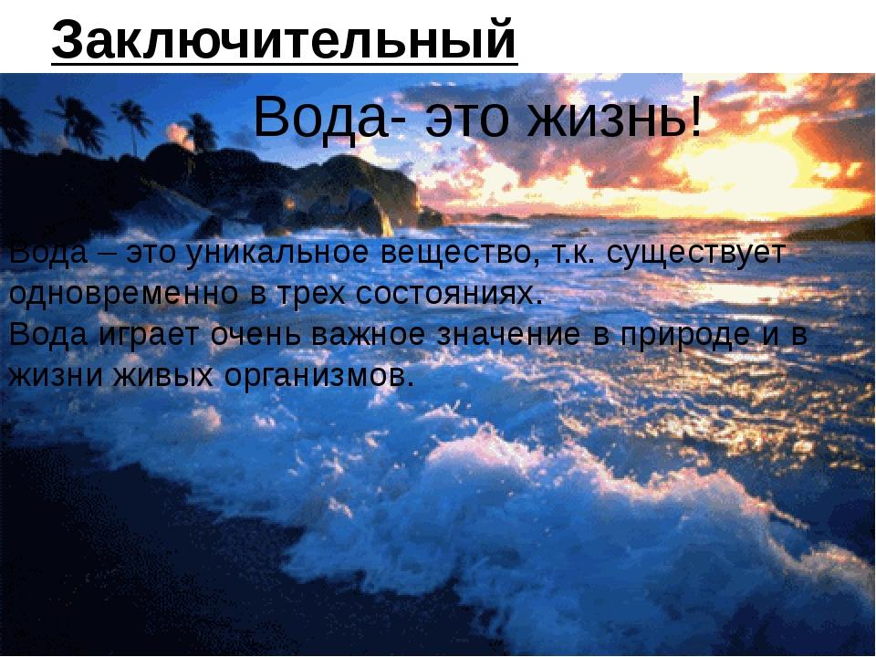 Заключительный вывод: Вода- это жизнь! Вода – это уникальное вещество, т.к. с...