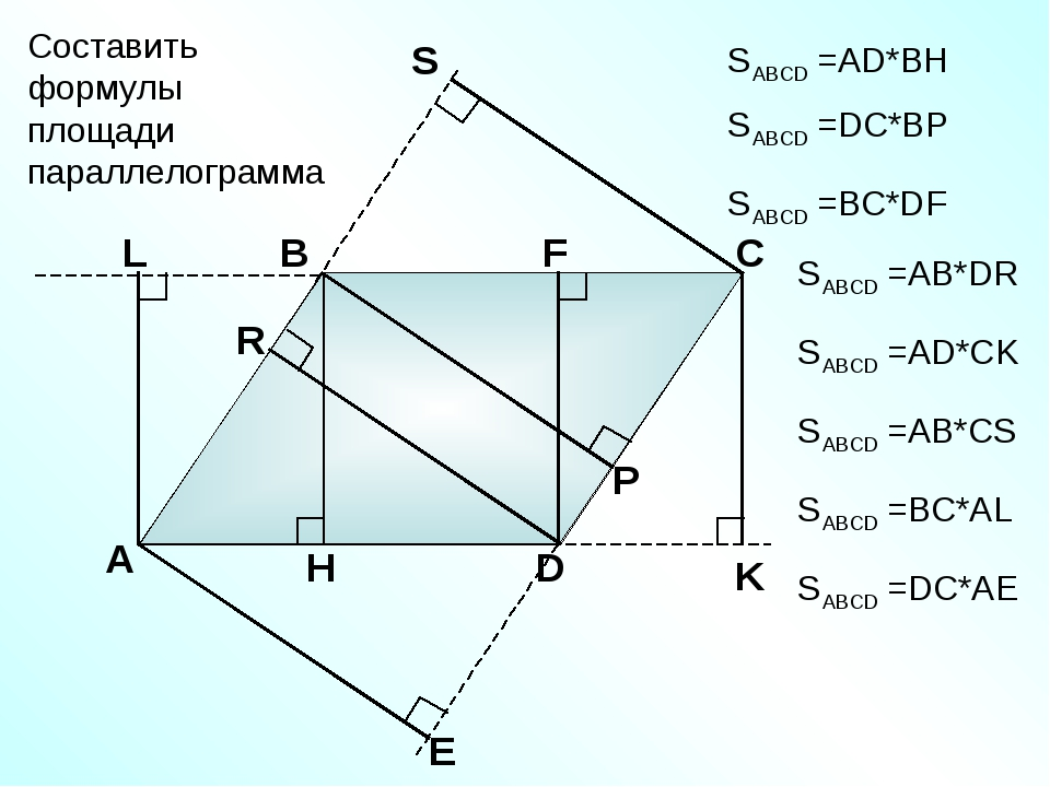 А В С D Составить формулы площади параллелограмма SABCD =АD*BH SABCD =DC*BP S...