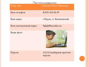 Эксперимент «Кто тебя знает» Ваше имя Иванов Иван Иванович Ваш телефон 8-900-