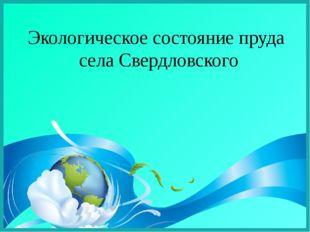Экологическое состояние пруда села Свердловского
