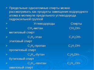 Предельные одноатомные спирты можно рассматривать как продукты замещения водо