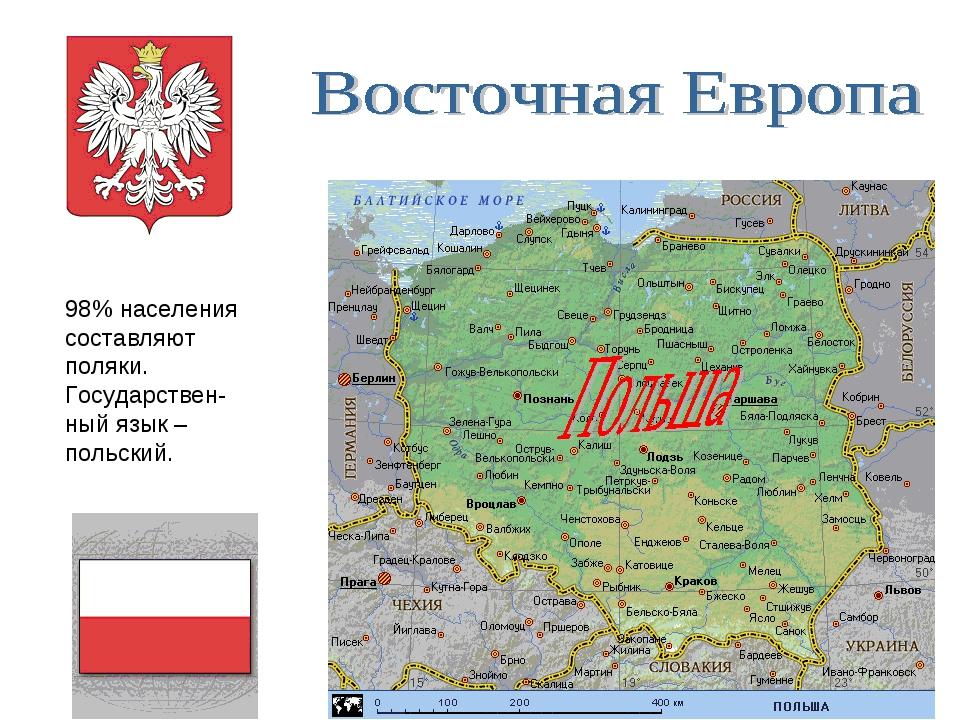 98% населения составляют поляки. Государствен-ный язык – польский.