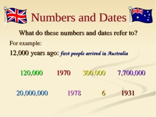 What do these numbers and dates refer to? For example: 12,000 years ago: firs