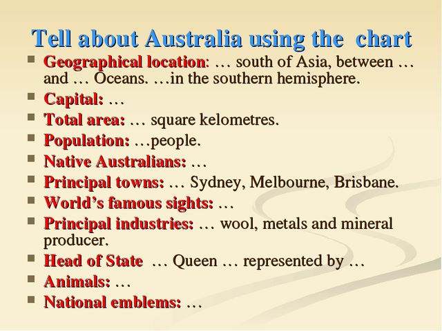 Tell about Australia using the chart Geographical location: … south of Asia,...