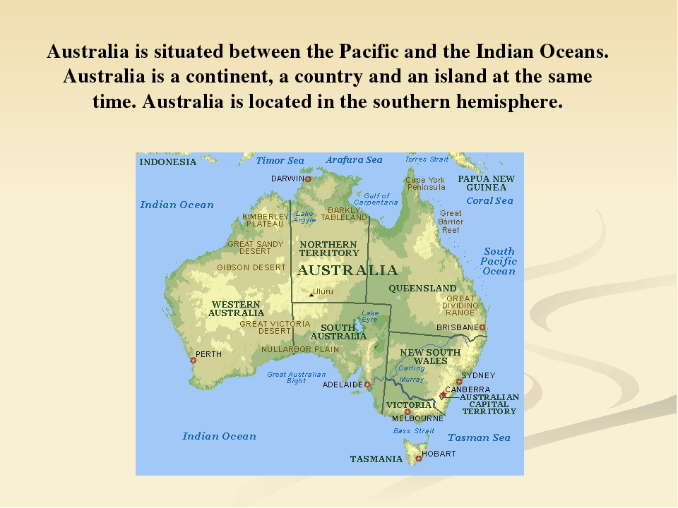 Australia is situated between the Pacific and the Indian Oceans. Australia is...