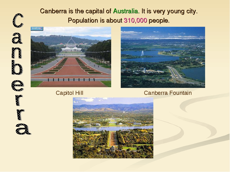 Canberra is the capital of Australia. It is very young city. Population is ab...