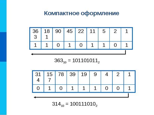 36310 = 1011010112 31410 = 1001110102 Компактное оформление 363181904522...