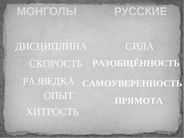 МОНГОЛЫ РУССКИЕ ХИТРОСТЬ ОПЫТ РАЗВЕДКА СКОРОСТЬ ДИСЦИПЛИНА СИЛА РАЗОБЩЁННОСТЬ...