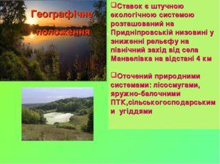 Ставок є штучною екологічною системою розташований на Придніпровській низовин