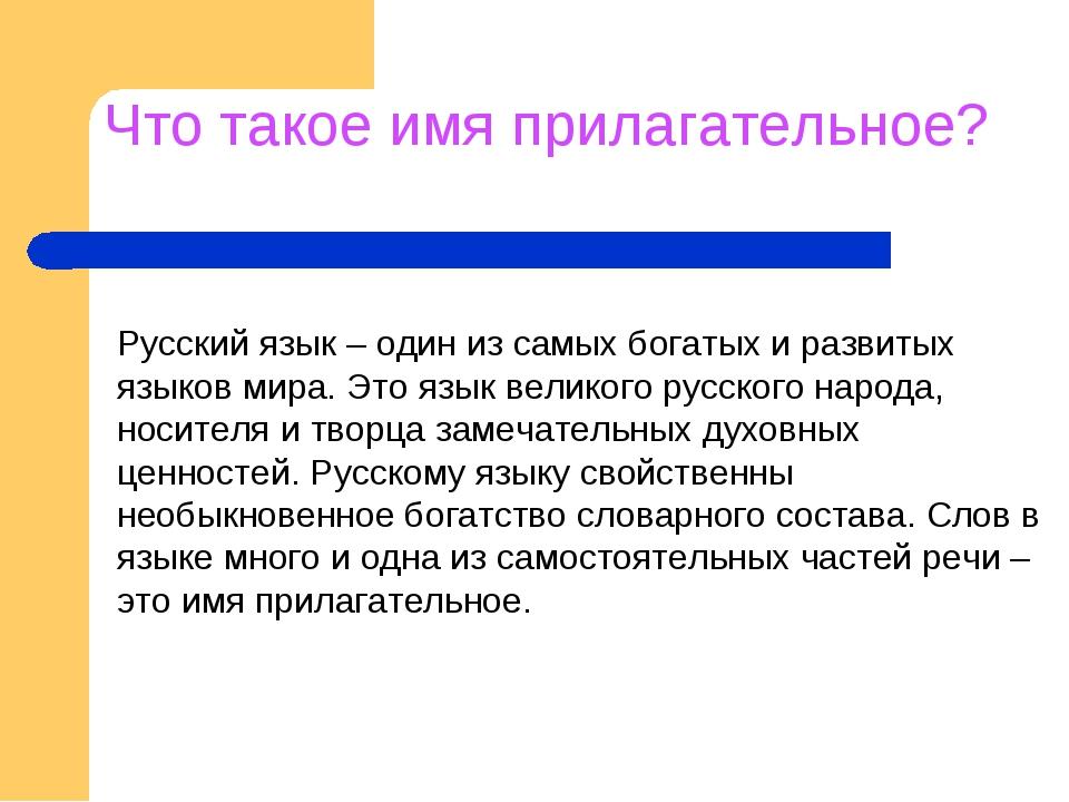 Что такое имя прилагательное? Русский язык – один из самых богатых и развитых...