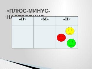 «ПЛЮС-МИНУС-НАСТРОЕНИЕ» «П» «М» «Н»