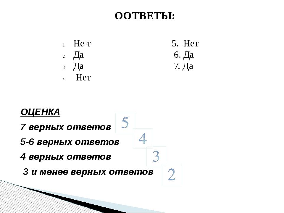 ОЦЕНКА 7 верных ответов 5-6 верных ответов 4 верных ответов 3 и менее верных...