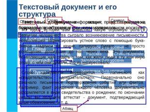 Текстовый документ и его структура Текстовый документ - информация, представл