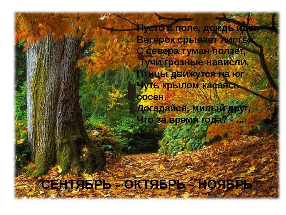 СЕНТЯБРЬ – ОКТЯБРЬ – НОЯБРЬ Пусто в поле, дождь идёт. Ветерок срывает листья...