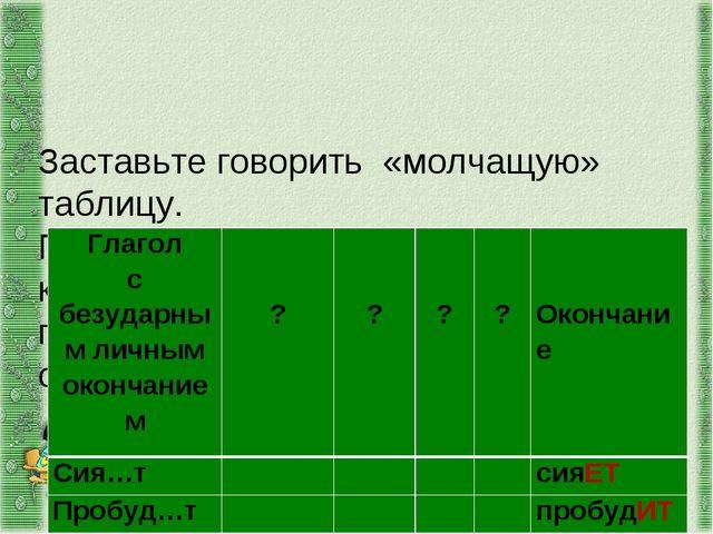 Заставьте говорить «молчащую» таблицу. Перечислите по порядку все действия,...