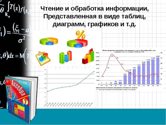 Чтение и обработка информации, Представленная в виде таблиц, диаграмм, график...