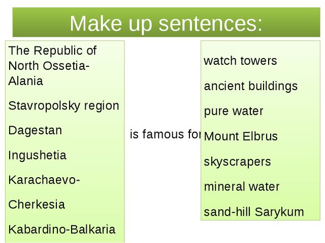 Make up sentences: is famous for The Republic of North Ossetia-Alania Stavrop...