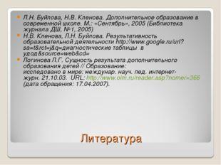 Литература Л.Н. Буйлова, Н.В. Кленова. Дополнительное образование в современн