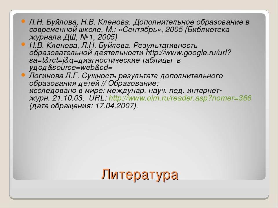 Литература Л.Н. Буйлова, Н.В. Кленова. Дополнительное образование в современн...