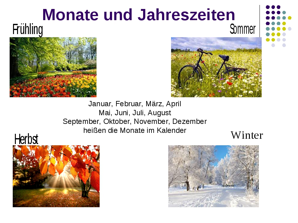 Monate und Jahreszeiten Januar, Februar, März, April Mai, Juni, Juli, August...