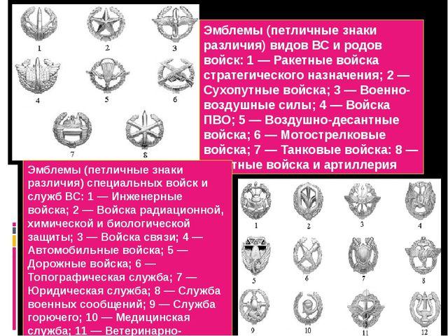 Эмблемы (петличные знаки различия) видов ВС и родов войск: 1 — Ракетные войск...