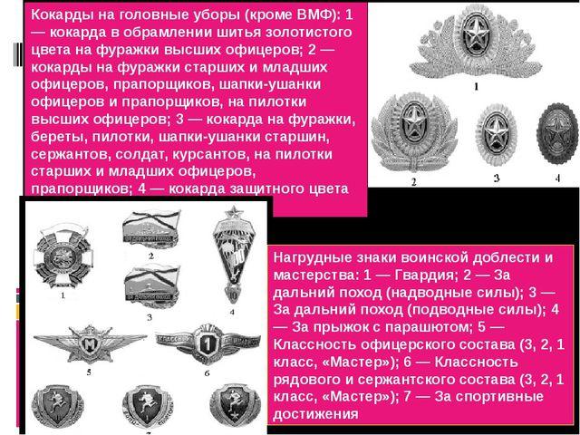 Кокарды на головные уборы (кроме ВМФ): 1 — кокарда в обрамлении шитья золотис...