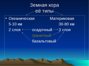 Земная кора её типы ОкеаническаяМатериковая 5-10 км30-80 км 2 слоя