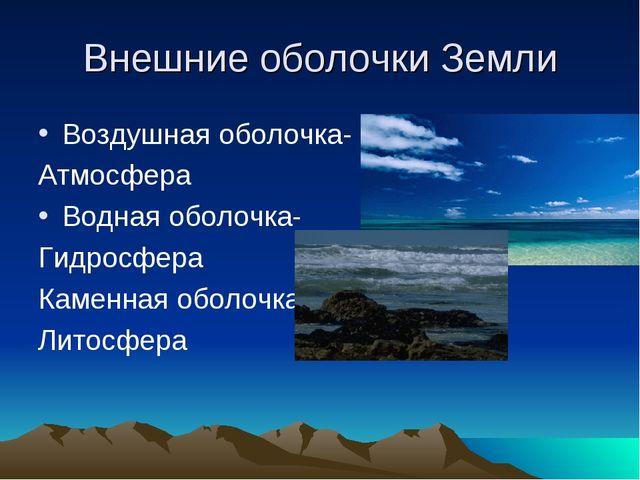 Внешние оболочки Земли Воздушная оболочка- Атмосфера Водная оболочка- Гидросф...