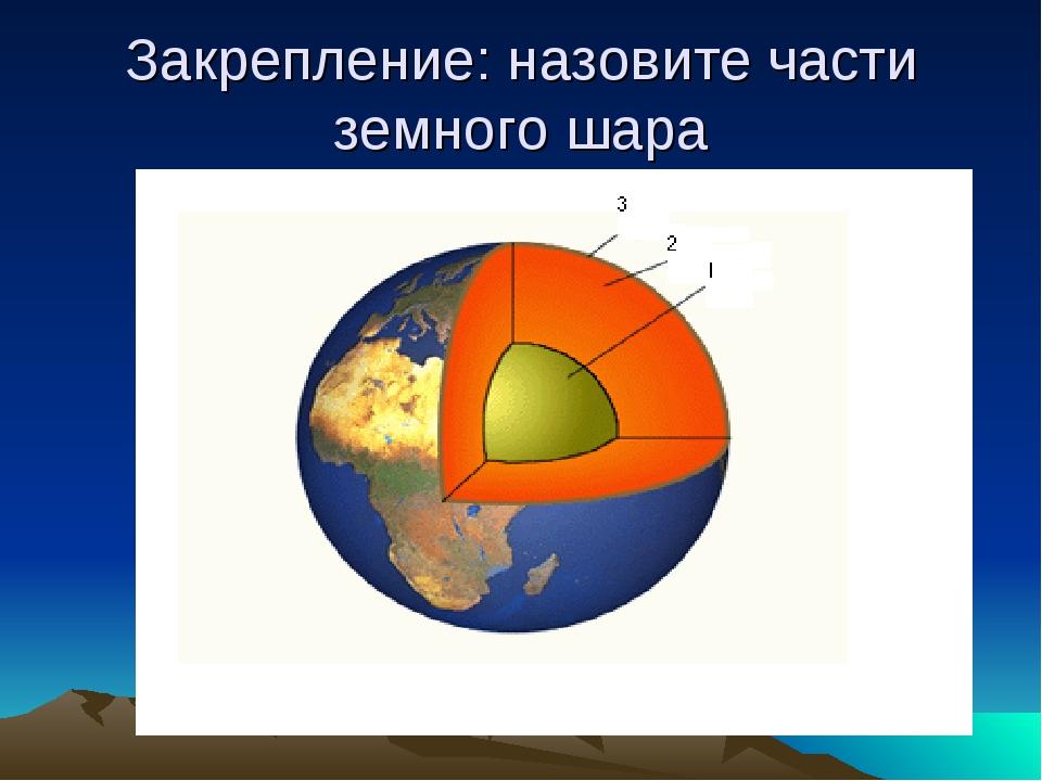 Закрепление: назовите части земного шара