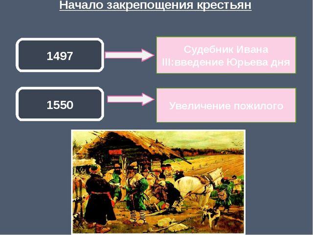 Начало закрепощения крестьян 1497 1550 Судебник Ивана III:введение Юрьева дня...