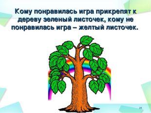 Кому понравилась игра прикрепят к дереву зеленый листочек, кому не понравила