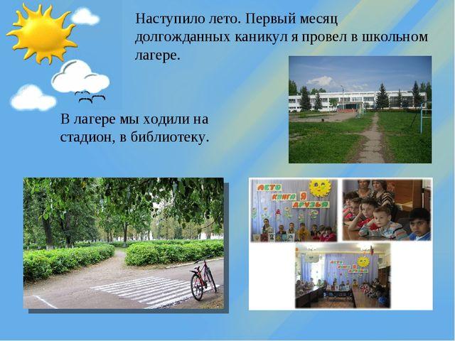 Наступило лето. Первый месяц долгожданных каникул я провел в школьном лагере....