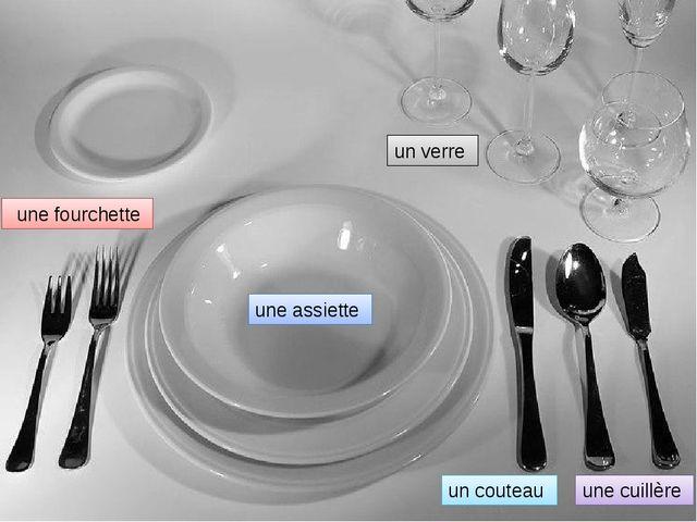 une fourchette une assiette un couteau une cuillère un verre