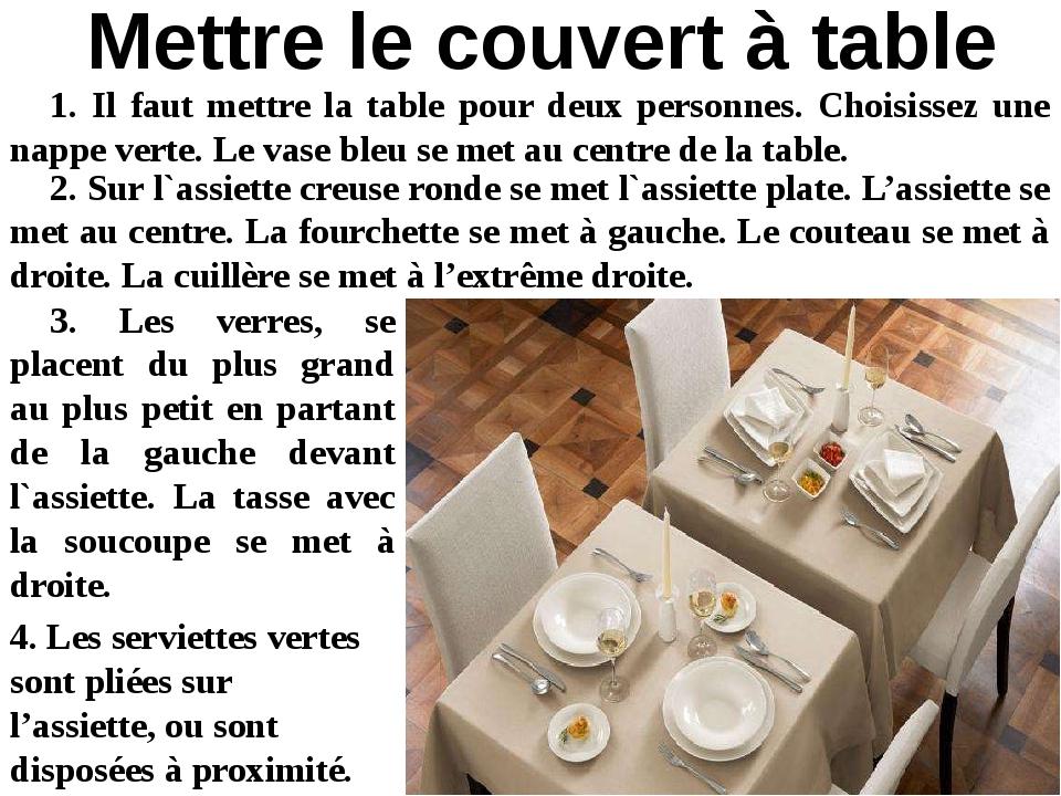 1. Il faut mettre la table pour deux personnes. Choisissez une nappe verte. L...