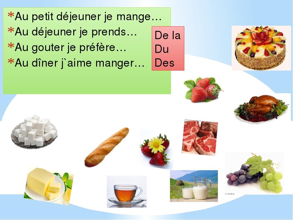 Au petit déjeuner je mange… Au déjeuner je prends… Au gouter je préfère… Au d...