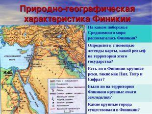 Природно-географическая характеристика Финикии На каком побережье Средиземног
