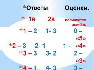 1в 2в количество ошибок 1 – 2 1- 3 0 – «5» 2 – 3 2- 1 1 - «4» 3 – 3 3- 2 2 –